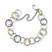 Gold and Silver Loops Charm Bracelet