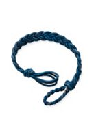 Blue Double Cordovan Braided Leather Bracelet