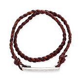 Woven Latitude Antique Brown Leather Bracelet