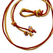Rust & Gold Leather Necklace with Bead Clasp