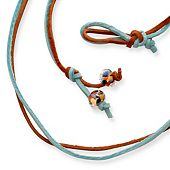 Rust & Aqua Leather Necklace with Bead Clasp