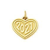 "Heart with ""2021"" Charm in Gold"
