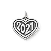 "Heart with ""2021"" Charm in Sterling Silver"