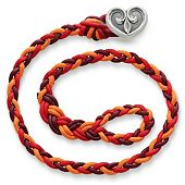 Poppy Red Woven Bracelet with Scrolled Heart Clasp