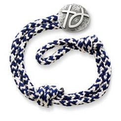 Pacific Blue Woven Bracelet with Rustic Cross & Ichthus Clasp at James Avery