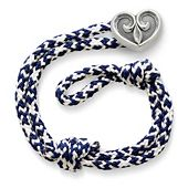 Pacific Blue Woven Bracelet with Scrolled Heart Clasp