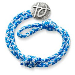 Caribbean Blue Woven Bracelet with Rustic Cross & Ichthus Clasp at James Avery
