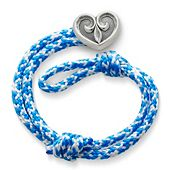 Caribbean Blue Woven Bracelet with Scrolled Heart Clasp