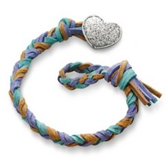 Sandy Beach  Woven Leather Bracelet with Textured Heart Clasp at James Avery