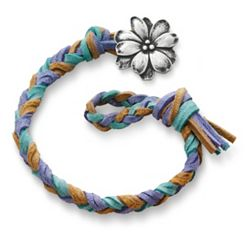 Sandy Beach  Woven Leather Bracelet with Wildflower Clasp at James Avery