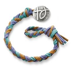 Sandy Beach  Woven Leather Bracelet with Rustic Cross & Ichthus Clasp at James Avery