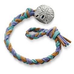 Sandy Beach  Woven Leather Bracelet with Sand Dollar Clasp at James Avery