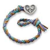 Sandy Beach  Woven Leather Bracelet with Scrolled Heart Clasp