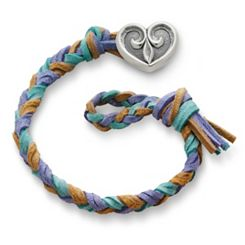 Sandy Beach  Woven Leather Bracelet with Scrolled Heart Clasp at James Avery