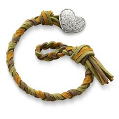 Sage Woven Leather Bracelet with Textured Heart Clasp at James Avery