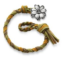 Sage Woven Leather Bracelet with Wildflower Clasp at James Avery
