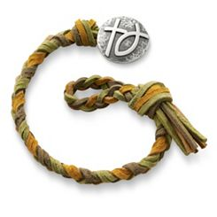 Sage Woven Leather Bracelet with Rustic Cross & Ichthus Clasp at James Avery