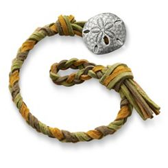 Sage Woven Leather Bracelet with Sand Dollar Clasp at James Avery