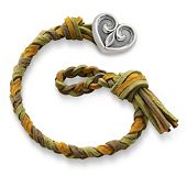 Sage  Woven Leather Bracelet with Scrolled Heart Clasp