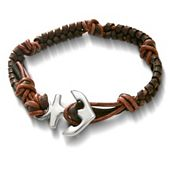 Mocha Woven Leather Bracelet with Anchor Clasp