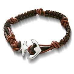 Mocha Woven Leather Bracelet with Anchor Clasp at James Avery