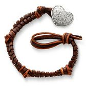Mocha Woven Leather Bracelet with Textured Heart Clasp