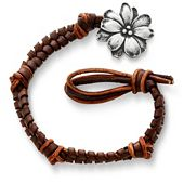 Mocha Woven Leather Bracelet with Wildflower Clasp