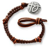 Mocha Woven Leather Bracelet with Rustic Cross with Ichthus Clasp