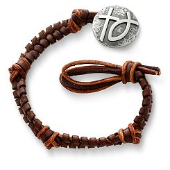 Mocha Fishtail Braided Leather Bracelet with Rustic Cross with Ichthus Clasp at James Avery