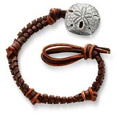 Mocha Woven Leather Bracelet with Sand Dollar Clasp