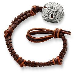 Mocha Woven Leather Bracelet with Sand Dollar Clasp at James Avery