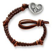 Mocha  Woven Leather Bracelet with Scrolled Heart Clasp
