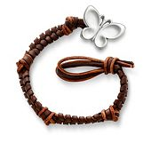 Mocha Woven Leather Bracelet with Butterfly Clasp