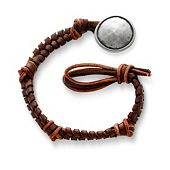Mocha Fishtail Braided Leather Bracelet with Rustic Button Clasp