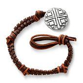 Mocha Fishtail Braided Leather Bracelet with Disciples Cross Clasp