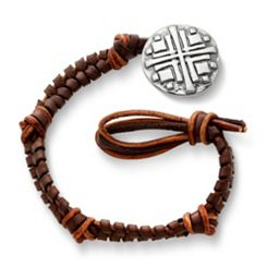 Mocha Fishtail Braided Leather Bracelet with Disciples Cross Clasp at James Avery