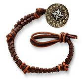 Mocha Fishtail Braided Leather Bracelet with Point the Way Button Clasp
