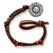 Mocha Woven Leather Bracelet with My Sunshine Clasp