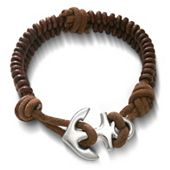 Cinnamon Rugged Fishtail Braided Leather Bracelet with Anchor Clasp