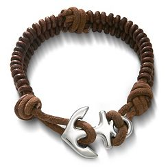 Cinnamon Rugged Fishtail Braided Leather Bracelet with Anchor Clasp at James Avery