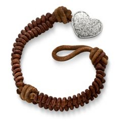 Cinnamon Rugged Fishtail Braided Leather Bracelet with Textured Heart Clasp at James Avery