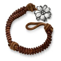 Cinnamon Rugged Fishtail Braided Leather Bracelet with Wildflower Clasp at James Avery