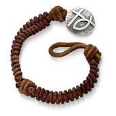 Cinnamon Woven Leather Bracelet with Rustic Cross & Ichthus Clasp
