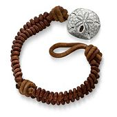 Cinnamon Woven Leather Bracelet with Sand Dollar Clasp