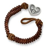 Cinnamon Rugged Fishtail Braided Leather Bracelet with Scrolled Heart Clasp