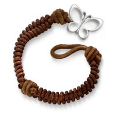 Cinnamon Woven Leather Bracelet with Butterfly Clasp at James Avery
