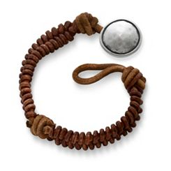 Cinnamon Rugged Fishtail Braided Leather Bracelet with Rustic Button Clasp at James Avery