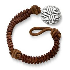 Cinnamon Rugged Fishtail Braided Leather Bracelet with Disciples Cross Clasp at James Avery