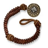 Cinnamon Rugged Fishtail Braided Leather Bracelet with Point the Way Button Clasp