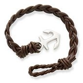 Dark Brown Woven Braided Leather Bracelet with Anchor Clasp